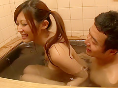 Horny Japanese girl Haruki Sato in Hottest bathroom, handjobs JAV movie
