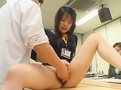 Crazy Japanese whore Aya Sakuraba, Misaki Asoh, Mika Nakajou in Horny Secretary, Fingering JAV scene