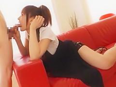 Horny Japanese chick Misaki Shiraishi in Exotic Blowjob/Fera JAV clip